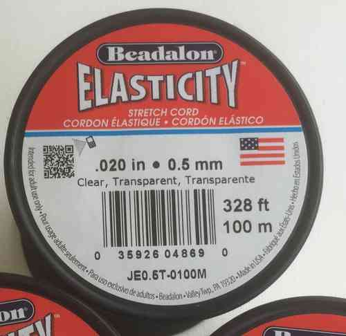 Beadalon Elasticity Gummi transparent 0,5 mm, 100 Meter