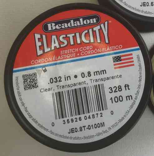 Beadalon Elasticity Gummi transparent 0,8 mm, 100 Meter